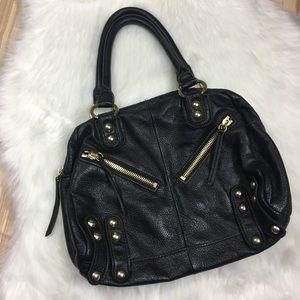 Lines Pelle Studded Black Leather Shoulder Bag